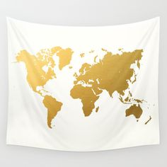 Buy Gold World Map by Samantha Ranlet as a high quality Wall Tapestry. Worldwide shipping available at Society6.com. Just one of millions of products available.