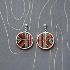 Modern geometric cross stitch earrings round