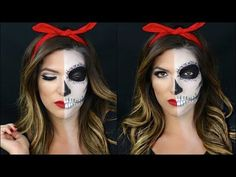 Half Skull Half Pin Up Halloween Makeup Tutorial - YouTube