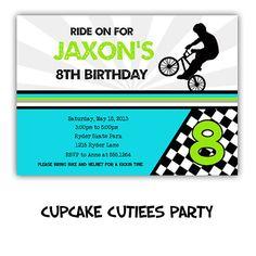 Boys BMX bike Love  Full Invite Ticket by CupcakeCutieesParty, $12.00