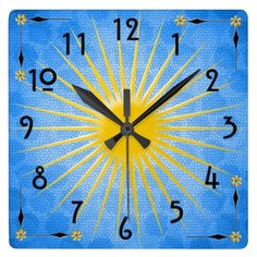 Morning Sun - This cheerful wall clock will bright any room you hang it in! Bright yellow sunburst against a blue mosaic sky with subtle polka dot shadow, craftsman style corners feature yellow daisy & black arrows. The hours are marked with black Rennie MacIntosh style numerals. See all of HoMeArts clocks @ www.zazzle.com/homearts+clocks?rf=238155573613991097&tc=pnt #craftsmanclocks #sunclocks #happyclocks