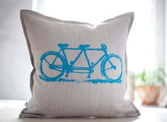 Bicycle print pillow cover hand painted on gray by pillowlink, $35.00