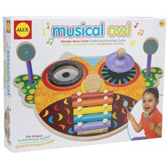 Making music can be a real hoot! Musical Owl is 4 musical instruments in one, so your little one can be a one tot band with this wooden music center! Cute