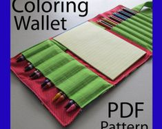 Now you can make the Small Coloring Wallet yourself.    The pattern includes pages of colored pictures, patterns, and tips. If you have any questions while you are making your Coloring Wallet, feel free to contact me.    NOTE: This listing is ONLY for a PDF Pattern sent as an email attachment. You WILL NOT receive the actual item shown or a hard copy pattern in the mail.    ----------------------------------------------------------    COPYRIGHT:    When you purchase this pattern you agree to…