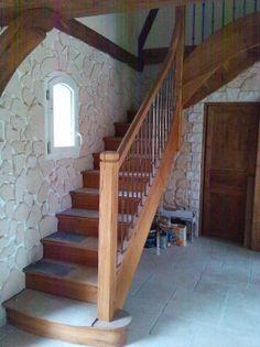 poteaux d coratifs en fer forg et rampe d 39 escalier en bois escalier pinterest. Black Bedroom Furniture Sets. Home Design Ideas