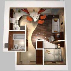 Tiny house plan layout with bathtub.