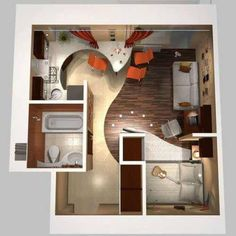 Tiny house plan layout with bathtub.