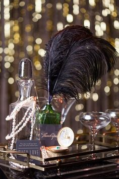 "1920's Vintage ""Great Gatsby"" Wedding Decoration Black Feathers."