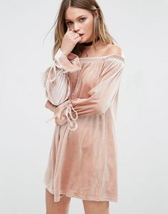 Glamorous Off The Shoulder Dress With Tie Up Sleeves
