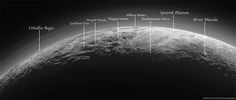 Explanation: Just 15 minutes after its closest approach to Pluto on July 14, 2015, NASA's New Horizons spacecraft looked back toward the sun and captured this near-sunset view of the rugged, icy mountains and flat ice plains extending to Pluto's horizon. Here, Thomas Appéré has added labels to the positions of the major landmarks.