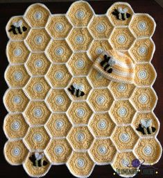 Sweet as Honey Crochet Pattern - find free honeycomb granny square hexagonal pattern on our site.