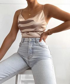 rose gold cami top classy cowl neck satin tank top spaghetti strap satin camis cute silk cami tanks # Casual Outfits shorts black and white Satin Tank Top, Satin Cami, Silk Satin, Satin Top, Cute Casual Outfits, Stylish Outfits, Classy Outfits For Going Out, Classic Outfits, Simple Outfits