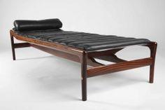 A Helge Vestergaard Jensen rosewood daybed with black leather mat designed in 1955 Height 42cm length 190cm depth 72cm