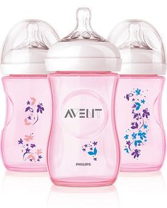 Philips AVENT 9 Ounce BPA Free Natural Polypropylene Bottles, 3 Pk, Pink Flowers