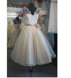 Vintage Tea Length Wedding Dress bridal gown ,V Neck White/Ivory Lace Wedding Dress,short beach wedding dress prom dress wedding party dress...