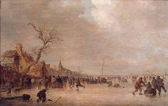 Winterlandschap met schaatsers en herberg - Jan van Goyen (1641)