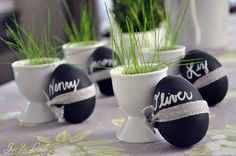 Tischdeko, Eier mit Tafellack bemalen