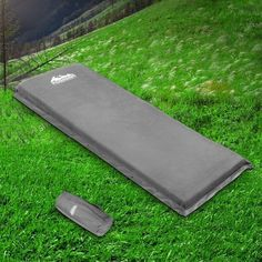 Self Inflating Mattress Single 10cm Grey Made from high density 10cm thick polyurethane foam, the mat is wrapped with a faux suede surface and an anti slip polyester pongee bottom. #inflatablemattress #mattress #campingmattress