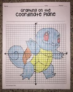 Squirtle (Graphing on the Coordinate Plane/ Mystery Picture) Middle School Classroom, Math Classroom, Maths, Graphing Worksheets, Graph Paper Art, 7th Grade Math, Pokemon Pictures, Fun At Work, Quilting Tips