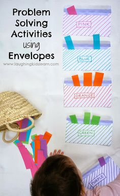 Simple problem solving activities using envelopes as a tool for learning. Great for all age levels and abilities. Teach colour sorting, math and literacy problems.  www.laughingkidslearn.com