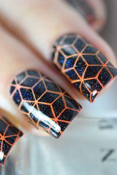 Nailstorming - Journée de lutte contre les violences faites aux femmes - Tumbling Blocks stamping - hehe003 - orange gradient