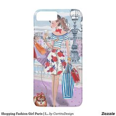 Shopping Fashion Girl Paris Iphone 7 plus Case Pretty Iphone Cases, Cute Phone Cases, Iphone Phone Cases, Iphone Case Covers, Pink Paris, Paris Girl, Valentines Gifts For Her, Vintage Paris, Design Case