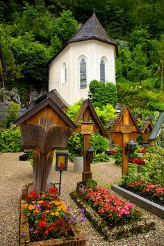 beautiful wooden markers in a Church Cemetery in Hallstatt, Austria