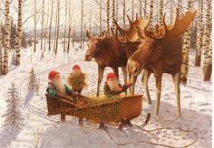 Scandinavian Swedish Christmas Poster Print Moose Tomte Gnome J Bergerlind Scandinavian Christmas Ornaments, Swedish Christmas, Christmas Gnome, Christmas Door, Christmas Crafts, Merry Christmas, Christmas Sweets, Xmas, Boxed Christmas Cards