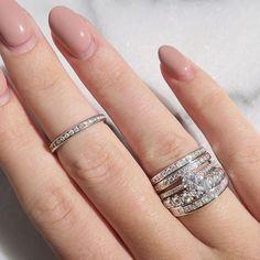 Diamond Eternity Band Stack #vintage #jewelry #ring #engagement #wedding #bridal #beladora