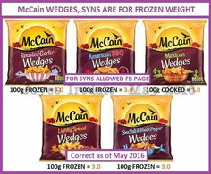 McCain chips fries potatoes Syn value Slimming World Syns List, Slimming World Syn Values, Slimming World Treats, Slimming World Dinners, Slimming World Recipes Syn Free, Syn Free Food, Syn Free Snacks, Slimming Word, Skinny Recipes