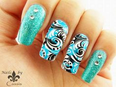 Nails by Cassis: Turquoise x Black Stamping Mani