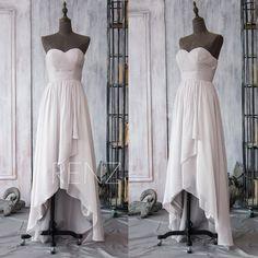 2016 Gray Bridesmaid Dress High Low Wedding dress by RenzRags