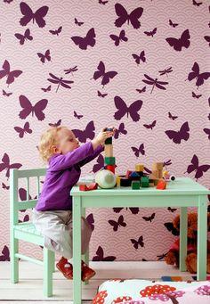 butterfly wallpapers: flirty butterflies for a girl's room
