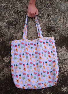 Extra grand Tropical fruits salade sac fourre-tout avec Unique Handmade Cross Stitch tissu modèle