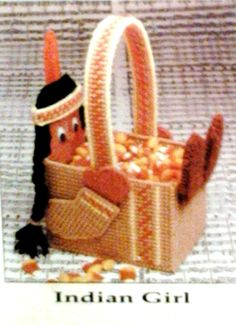 Indian girl basket plastic canvas 1-3