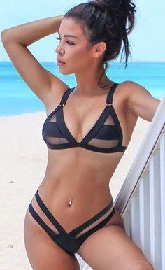 $29.99 Pool Party Fishnet Accent Triangular White Bikini