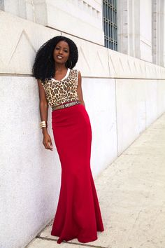Leopard Print top and red maxi skirt