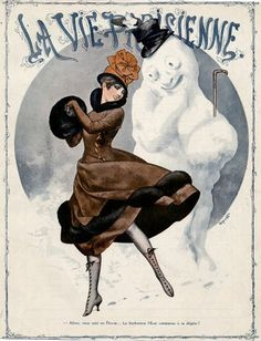 1916 - LADY AND SNOWMAN