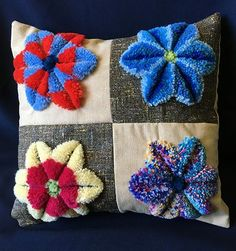 plushwork cushion with full tutorial for working plushwork embroidery