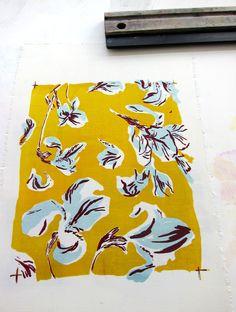 Lea Polka, pattern, design, painting, floral, iris, colour, mustard, flowers, illustration
