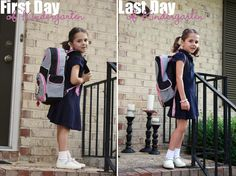 Same outfit for first & last day of school pictures.  See how they've grown!