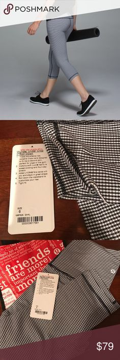 """NWT Lululemon Wunder Under Crop (Roll Down) size 6 Brand new with tags! Lululemon Wunder Under Crop II (Roll Down) the color is gingham luon white black. Style number is w6f52s. No trades 😊  fabric(s): Luon® fit: tight rise: high or lowyou choose! inseam: 21 1/2"""" leg opening: 11 1/8"""" hemmable: yes lululemon athletica Pants Leggings"""