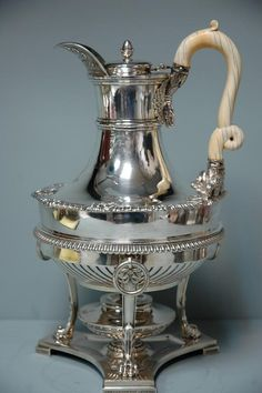 "Paul Storr, English Georgian Sterling Silver Coffeepot on Stand 1811 - approx. 11 1/2"" tall to the top of the handle and is approx. 7"" in diameter at its widest point"