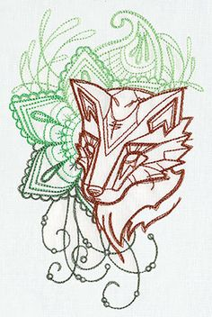 Anima Fox Embroidered Flour Sack Hand/Dish by EmbroideryEverywhere, $13.99