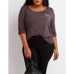 Charlotte Russe Scoop Neck Zip-Pocket Tee ($19) ❤ liked on Polyvore featuring plus size women's fashion, plus size clothing, plus size tops, plus size t-shirts, charcoal combo, 3/4 sleeve tee, 3/4 sleeve t shirts, womens plus size t shirts, stripe tee and striped t shirt