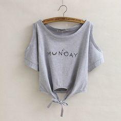 MUNDAY Fashion Summer print Crop Top T-shirt Casual short Sleeve