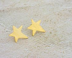Large Star Stud Earrings, Brushed Star Posts, Unique Design Jewelry, Big Star Studs, Customized - Sterling Silver OR 14K Gold Plate