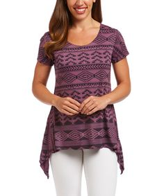 Another great find on #zulily! Purple & Black Geometric Sidetail Top #zulilyfinds