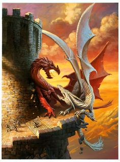 Dragons fighting, the different colours could be used to represent either order or disorder and the fact that they're fighting could show the conflict between the two