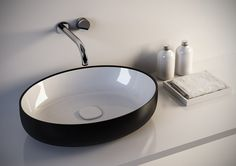Metamorfosi-Black-Wht Oval Ceramic Bathroom Vessel Sink – Gorgeous Tub  www.gorgeoustubs.com